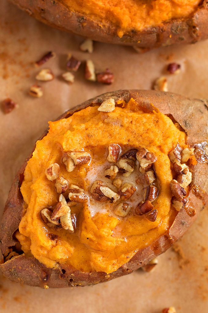 Twice Baked Sweet Potatoes recipe close up
