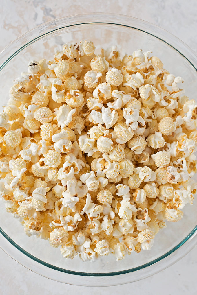 Popped popcorn for peppermint popcorn recipe