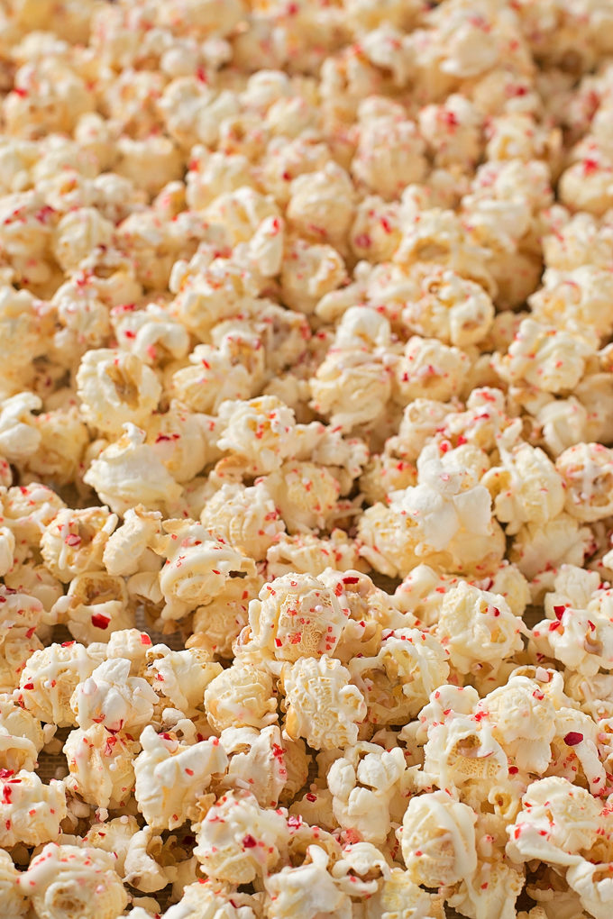 Close up of white chocolate peppermint popcorn