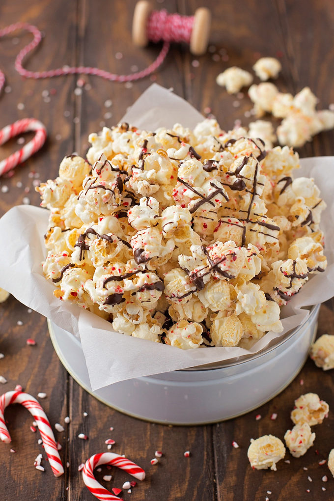 Peppermint Popcorn in a gift tin