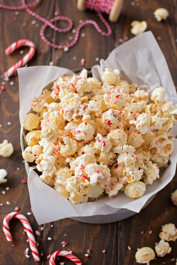 White Chocolate Peppermint Popcorn | lifemadesimplebakes.com