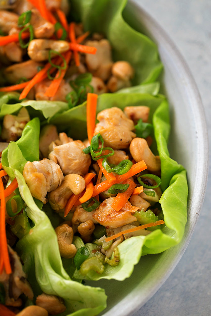 Cashew Chicken Lettuce Wraps | lifemadesimplebakes.com