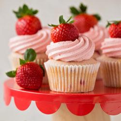 Strawberry Cupcakes with Strawberry White Chocolate Buttercream | lifemadesimplebakes.com