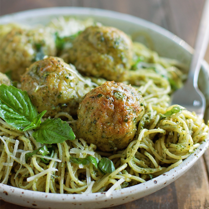 Pesto Chicken Meatballs on plate