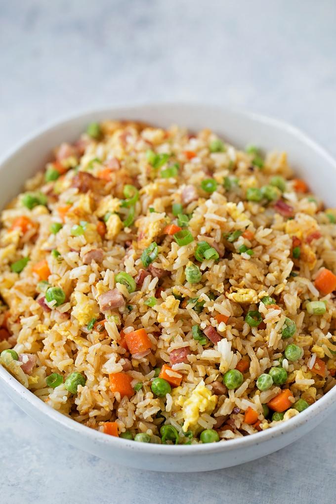 Recette du riz frit au jambon
