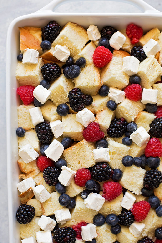 Berry French Toast Casserole in pan
