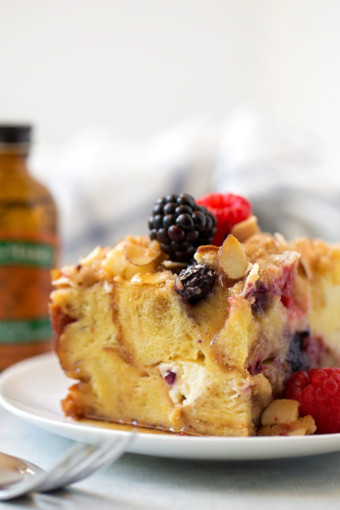 Close up of Berry French Toast Casserole