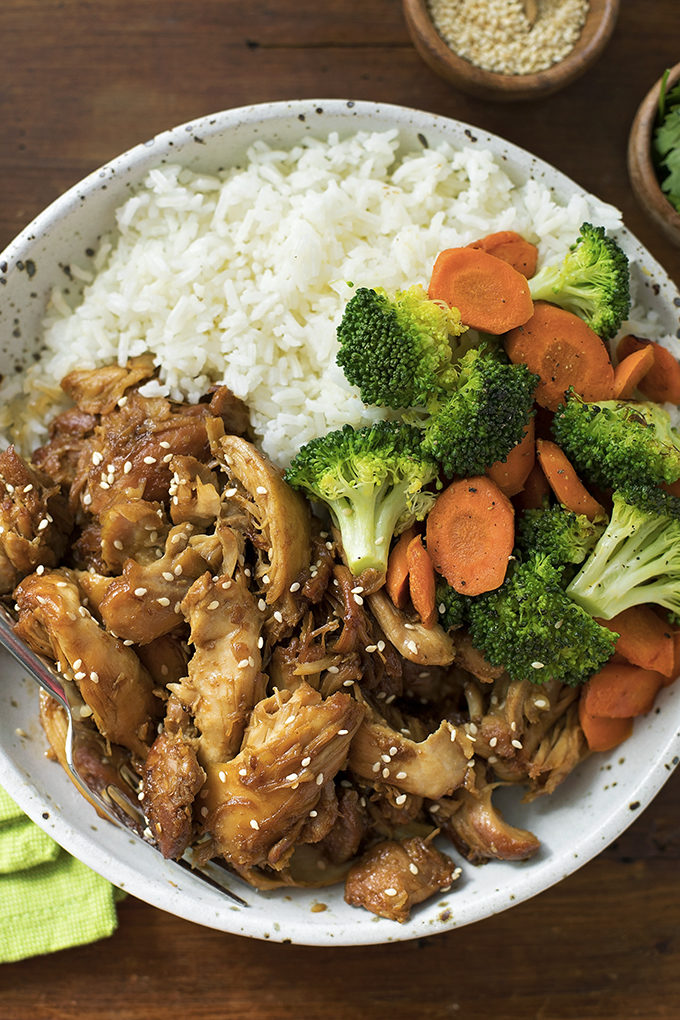 Instant Pot Teriyaki Chicken recipe with rice and veggies