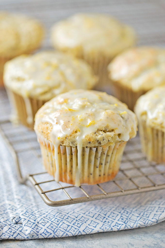 Lemon Poppy Seed Muffins with glaze on top