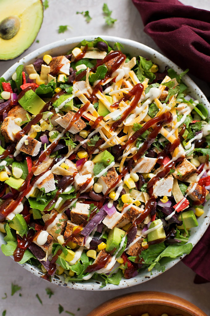 Barbecue Chicken Salad drizzled with ranch and bbq sauce