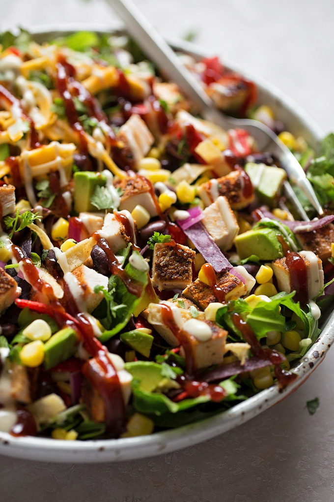 BBQ Chicken Chopped Salad in a white bowl