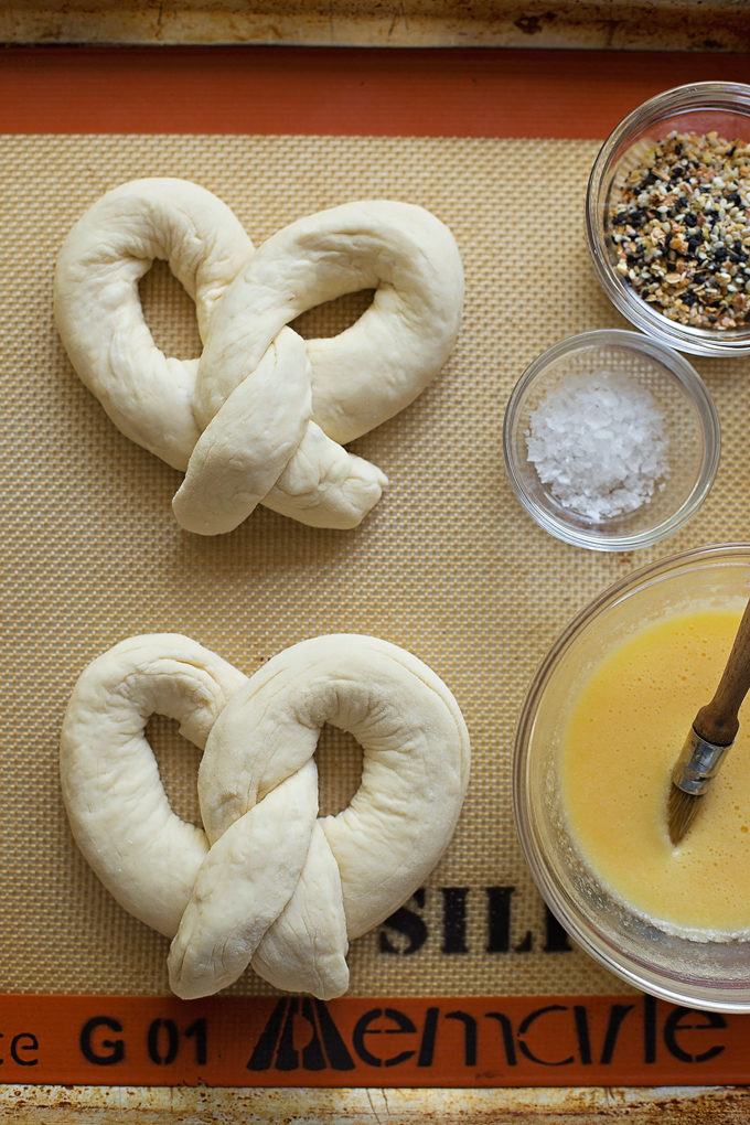 Preparing the everything bagel pretzels for egg wash and seasoning. | lifemadesimplebakes.com