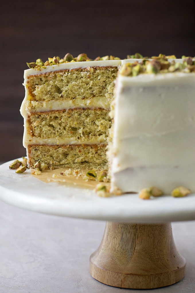 Closeup of the pistachio cake layers