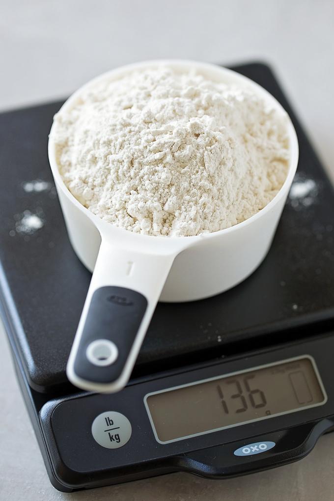 Weighing flour for swedish visiting cake recipe