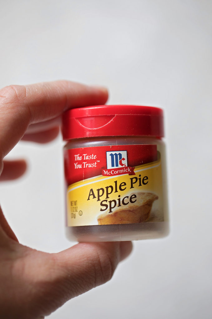 A container of apple pie spice for the apple cinnamon oatmeal cookies. | lifemadesimplebakes.com
