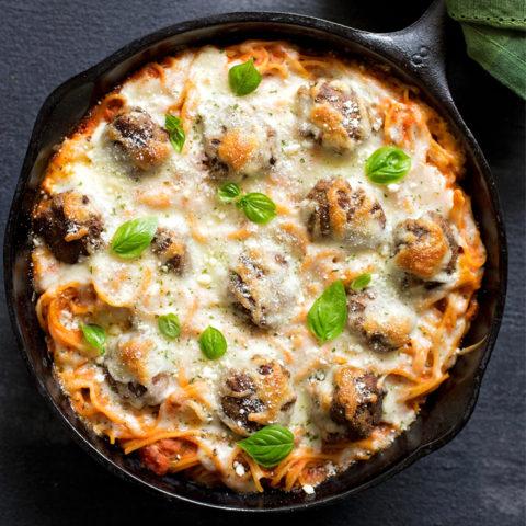 Oven baked spaghetti and meatballs dish. | lifemadesimplebakes.com