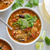 Bowls of chicken fajita soup made from scratch.