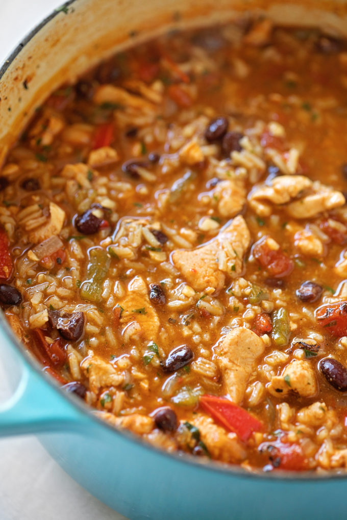 A pot full of loaded chicken fajita soup.