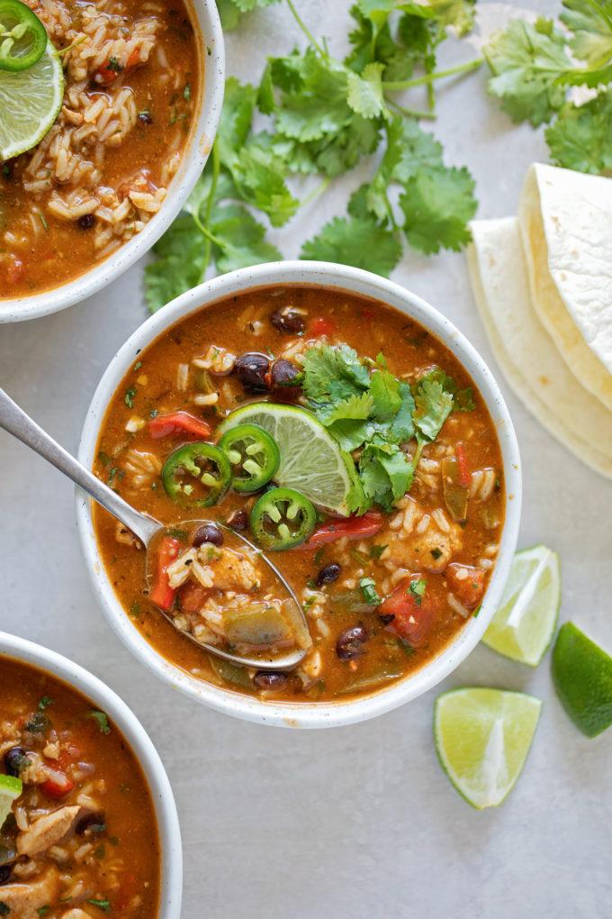 Bowls of easy chicken fajita soup.