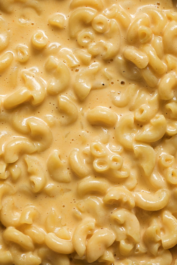 A close up of creamy, cheesy Instant Pot macaroni and cheese.
