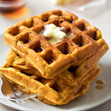 Irresistable pumpkin spice waffles perfect for a fall morning.
