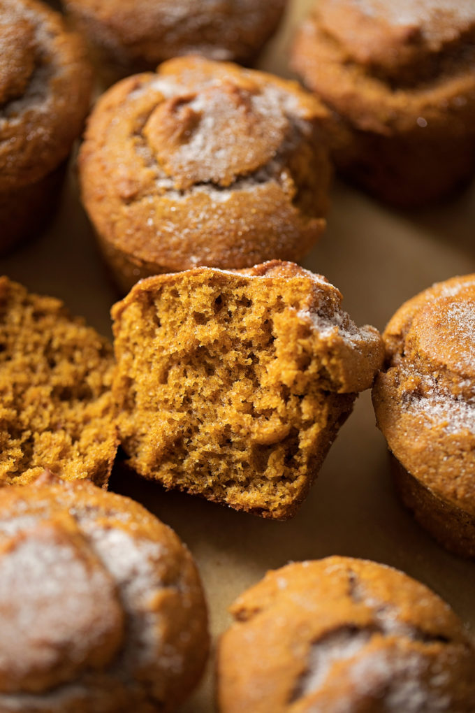 The inside of a whole wheat pumpkin muffin. | lifemadesimplebakes.com