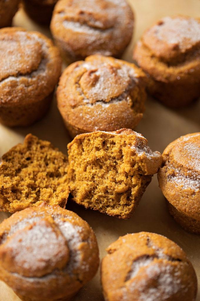 The tender crumb of a whole wheat pumpkin muffin. | lifemadesimplebakes.com