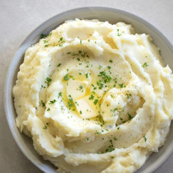 A close up of a bowl full of Instant Pot mashed potatoes.