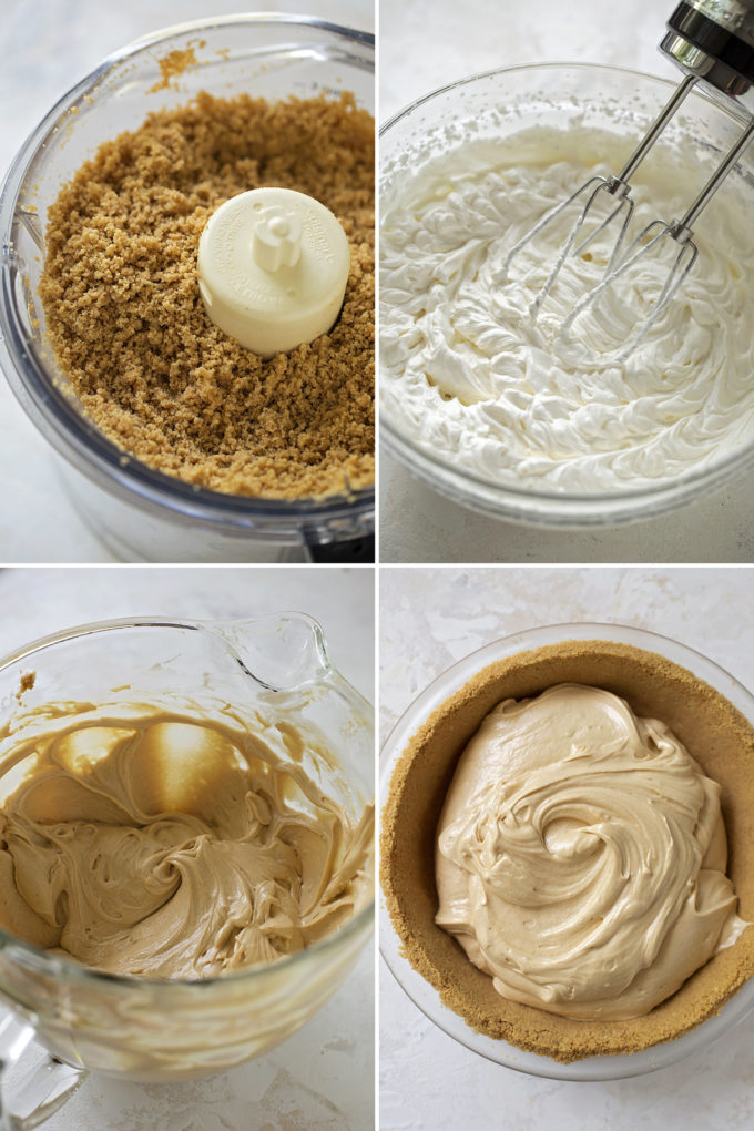 Steps of the recipe for no-bake peanut butter pie.