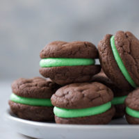 Soft, chewy chocolate mint sandwich cookies.