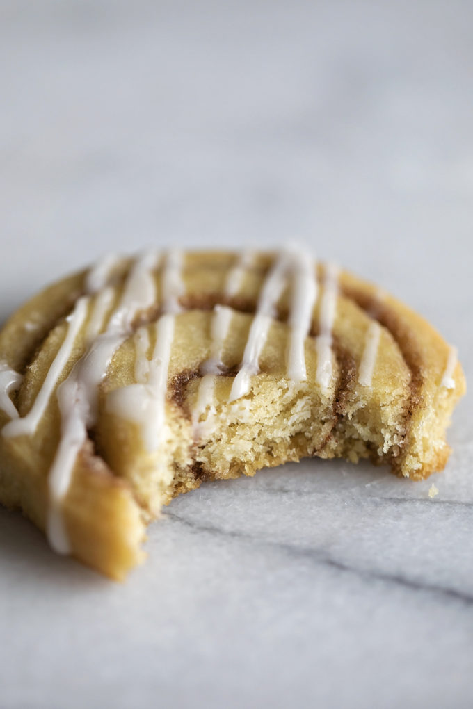A close up of the inside of a slice and bake cinnamon roll cookie. Buttery, sweet and full of cinnamon.