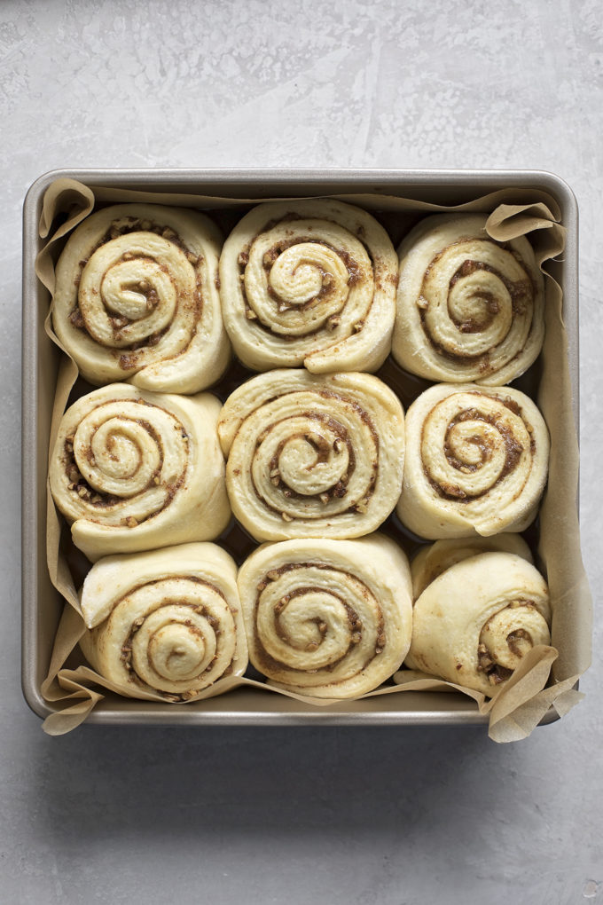 A plan of risen maple pecan cinnamon rolls ready to be baked.