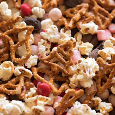 A close up shot of peppermint snack mix.