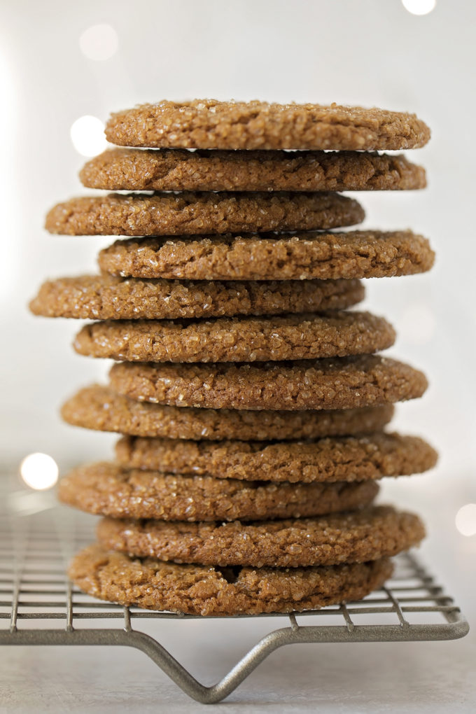 A pile of sparkling ginger molasses cookies.