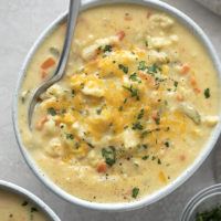 Delicious, cheesy cauliflower soup.