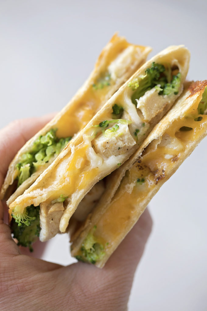 Gooey chicken broccoli quesadillas are a delicious, easy lunch or dinner idea.
