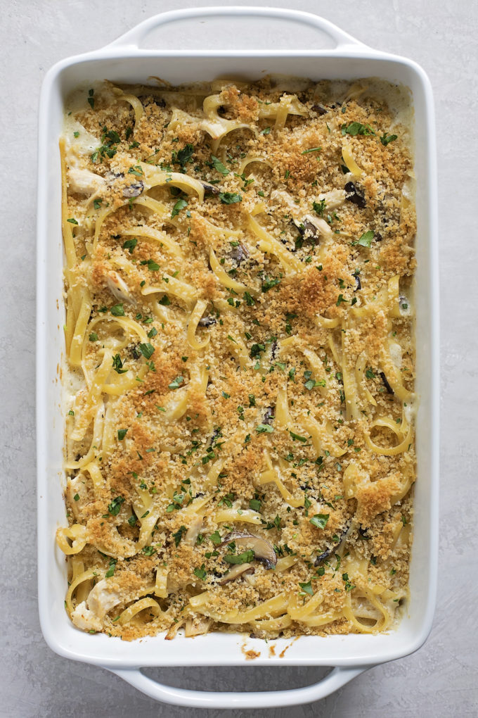 Creamy, delicious chicken tetrazzini topped with cheese and bread crumbs.
