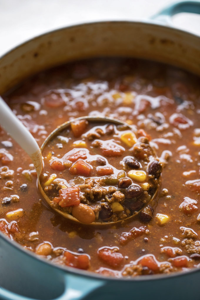 A ladle full of easy taco soup.
