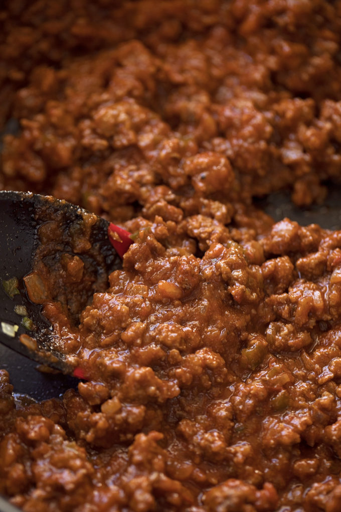 Homemade sloppy joe filling made with real ingredients.