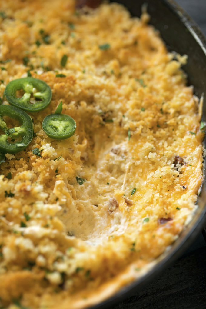 An up close shot of jalapeño popper dip.