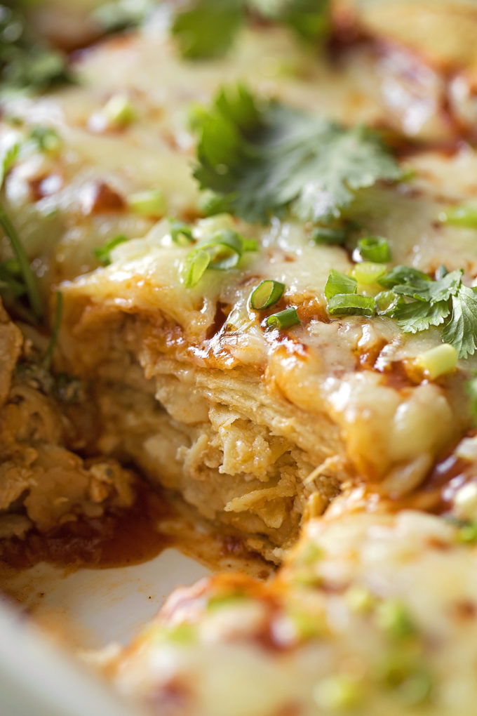 A close up of the layers inside of chicken tortilla casserole.