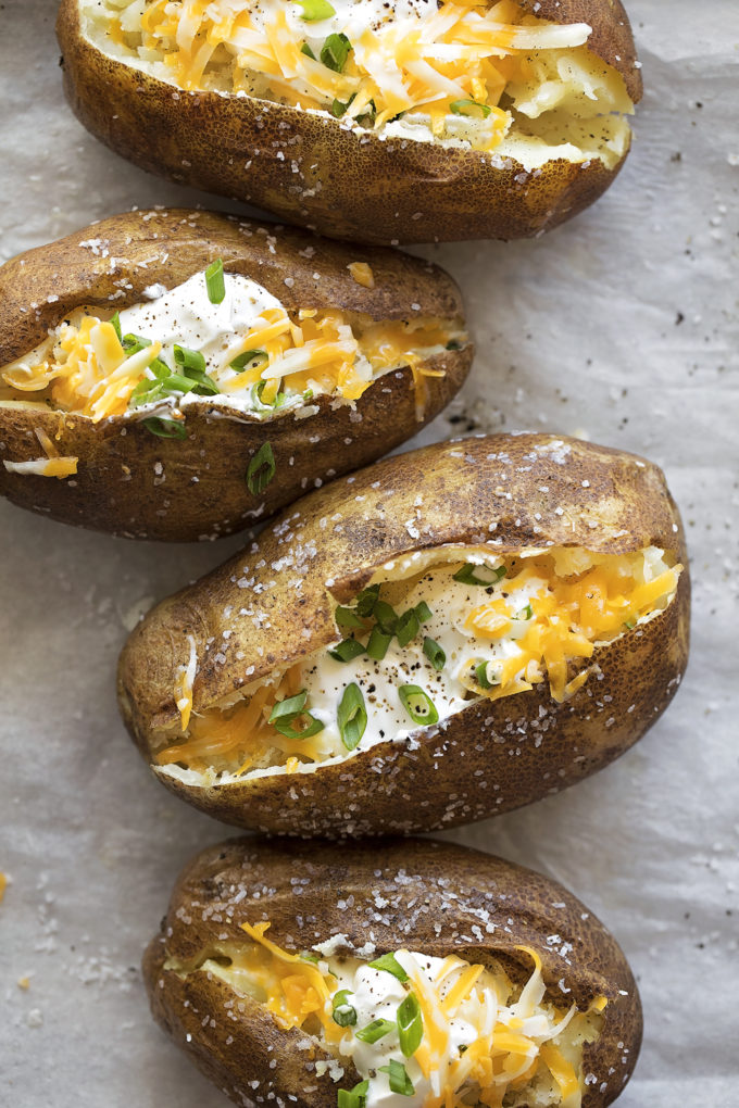 Instant pot baked potatoes with toppings