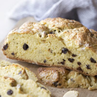 A view of the inside of Irish soda bread made with raisins.