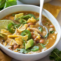 A cozy bowl full of easy, homemade jalapeño lime chicken chili.