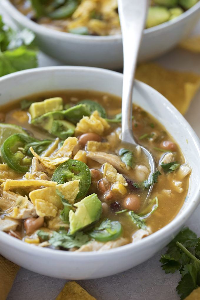 Flavorful jalapeño lime chicken chili is easy to make and can feed a crowd.