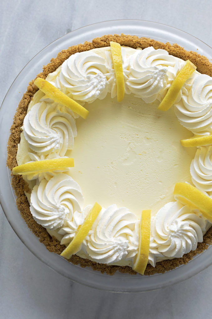 An overhead view of heavenly lemon cream pie finished and ready to be served.