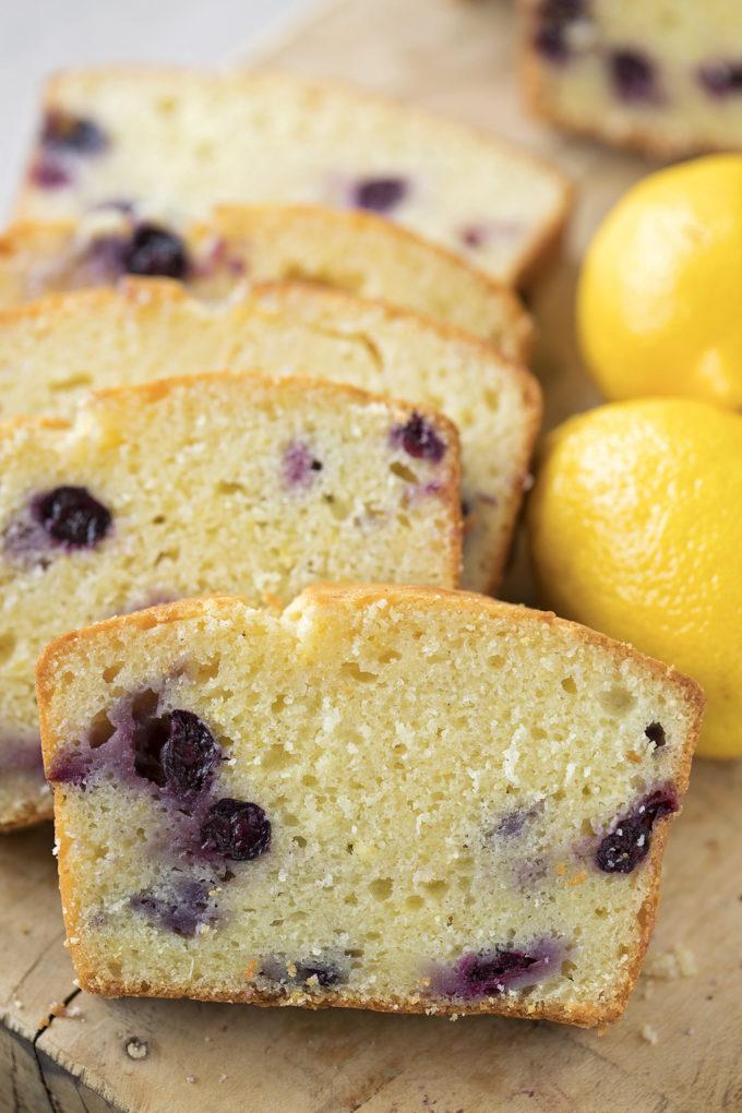 Slices of freshly baked lemon blueberry bread.