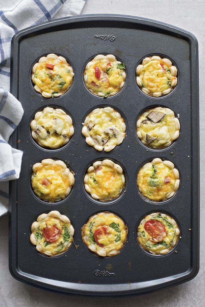 Mini quiches in baking dish