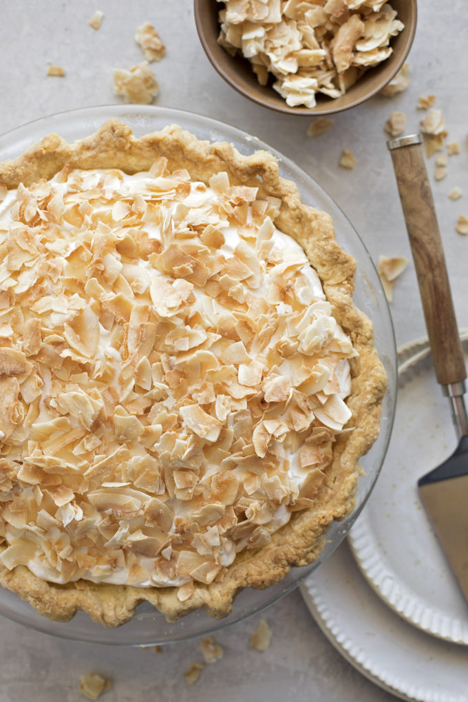 An overhead view of a perfect coconut cream pie.