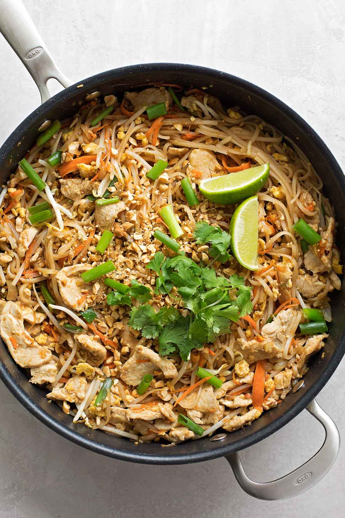 Homemade Pad Thai in skillet